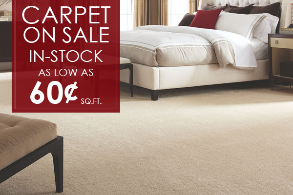 In-Stock Carpet On Sale as low as 60 cents per Sq. Ft.! Come visit our showroom in Florence, South Carolina to see other amazing deals like this one!